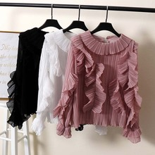 NiceMix 2019 new fashion women's blouse shirt round neck pullover ruffle flare sleeves thin pleated ruffles shirts streetwear black round neck flared sleeves blouse