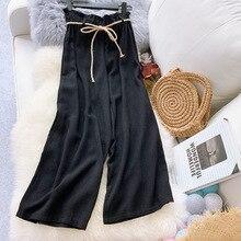 AcFirst New Spring Women Fashion Linen Black Khaki Long Loose Pants Wide Leg High Waist Full Length Female Tie