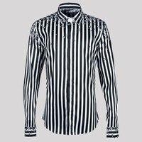 2019 Plus Size Men Striped Print Gems Business Dress Shirt Spring Autumn Tunr Down Collar Single Breasted Casual Korean Shirt
