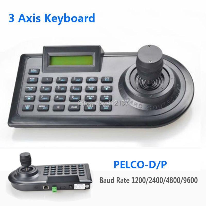 bilder für 3d 3 achsen ptz joystick ptz controller tastatur rs485 pelco-d/p w/lcd display für analog sicherheit cctv speed dome ptz kamera