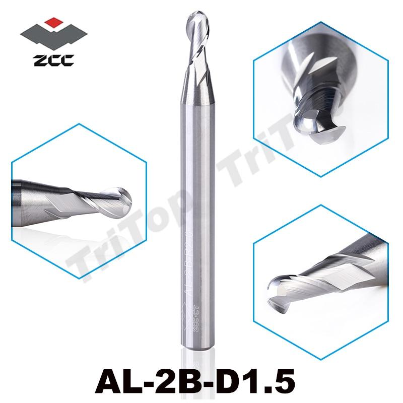 2pcs/lot ZCC.CT cutting tools AL-2B-R1.5 solid Carbide 1.5 mm R1.5 2 flute ball nose 50HRC end mills milling cutter for aluminum 2pcs lot zcc cutting tools al 2b r2 0 solid carbide 2 0mm r2 0 2 flute ball nose cnc end mill milling cutter for aluminum