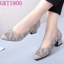 GKTINOO Rhinestone Pointed Toe Gauze Pumps Cut Outs Women Shoes Genuine Leather