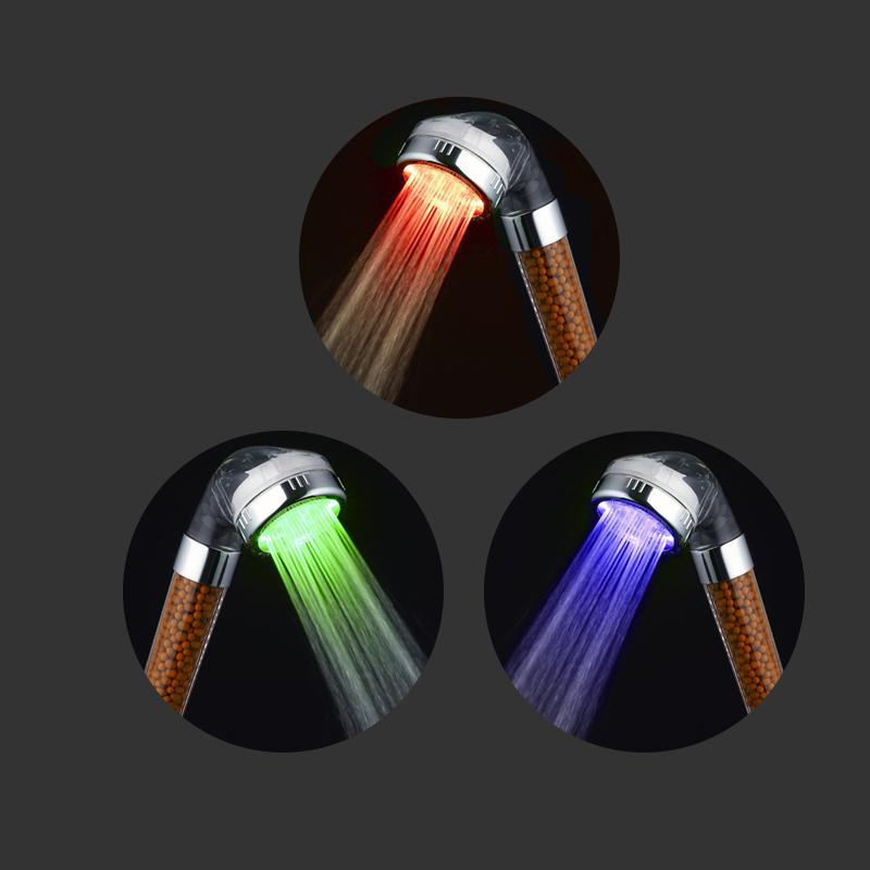 3/7 Функция регулируемый струйный душевой фильтр высокого давления водосберегающая душевая головка ручная водосберегающая душевая головка - Цвет: Temperature 3 colors