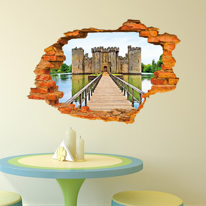 Wall paintings 3d three dimensional wall stickers castle for Castle wall mural sticker