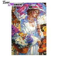 Ever Moment Diamond Painting Woman Flower 5D DIY Full Square Drill Mosaic Picture Of Rhinestone Diamond Embroidery S2F1994