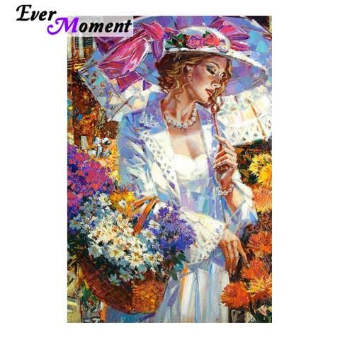 Imagem de Strass Sempre Momento Pintura Diamante Mulher Flor 5d Faça Você Mesmo Completo Quadrado Broca Mosaico Bordado S2f1994