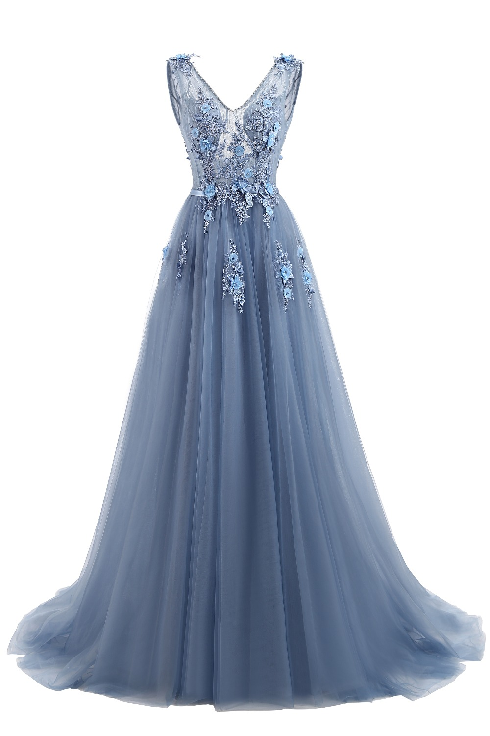 Elie Saab Blue Evening Dresses 2018 Plus Size Tulle Appliques Long Formal Dresses Gowns V Neck Lace Up Sleeveless Robe De Soiree 3