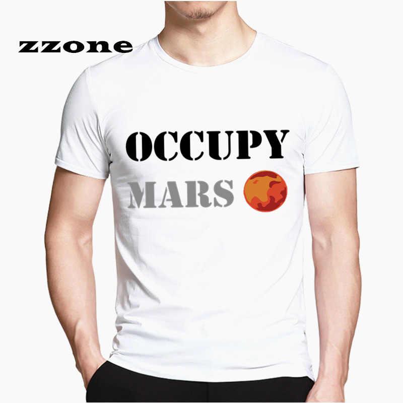 Camiseta gráfica Spacex, camisetas para hombres y mujeres, camisetas casuales con diseño divertido, camiseta Popular Occupy Mars Space X HCP4538