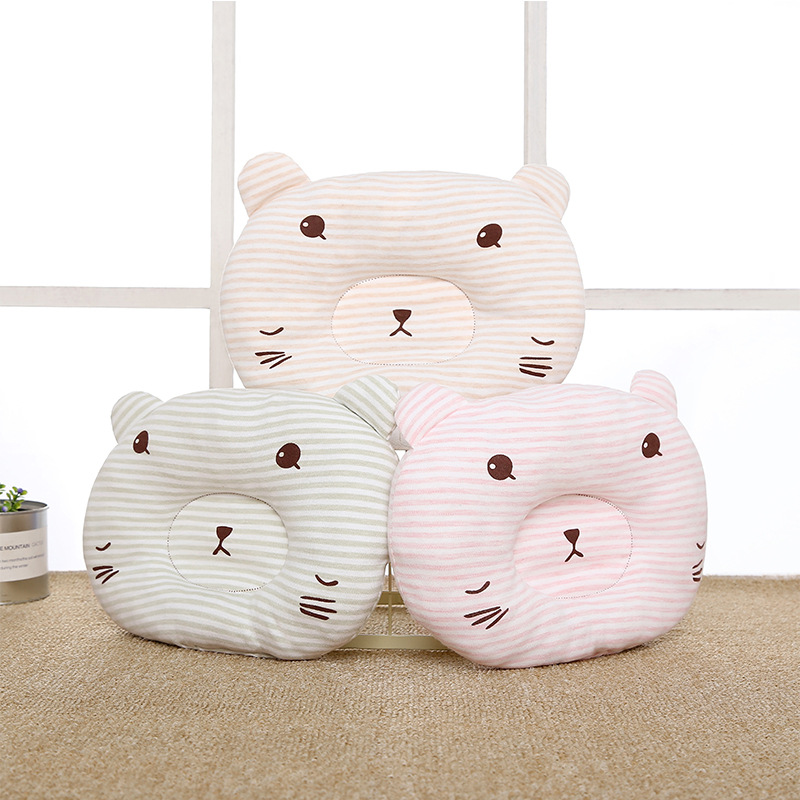 Baby Pillow Head Protector Anti Roll Shaping Pillow Baby Decoration Room Cartoon Small Bear Colored Cotton Pillow Newborns Baby