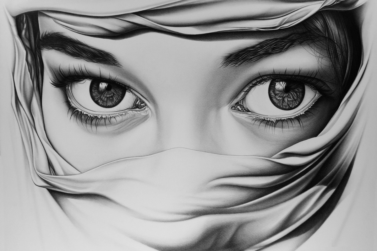 Black White Art Drawing Girl Portrait Eyes Rw008 Living -8929