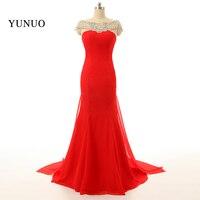2017 Sexy Celebrity Dress Robe de soiree Beading Backless Red Mermaid Prom Dress Long vestido longo Custom Made X01105