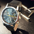 Geneva Watch Reloj de Los Hombres Correa de Cuero de Moda de Los Hombres Relojes Relojes Deportivos relogio masculino montre homme Reloj kol saati erkek