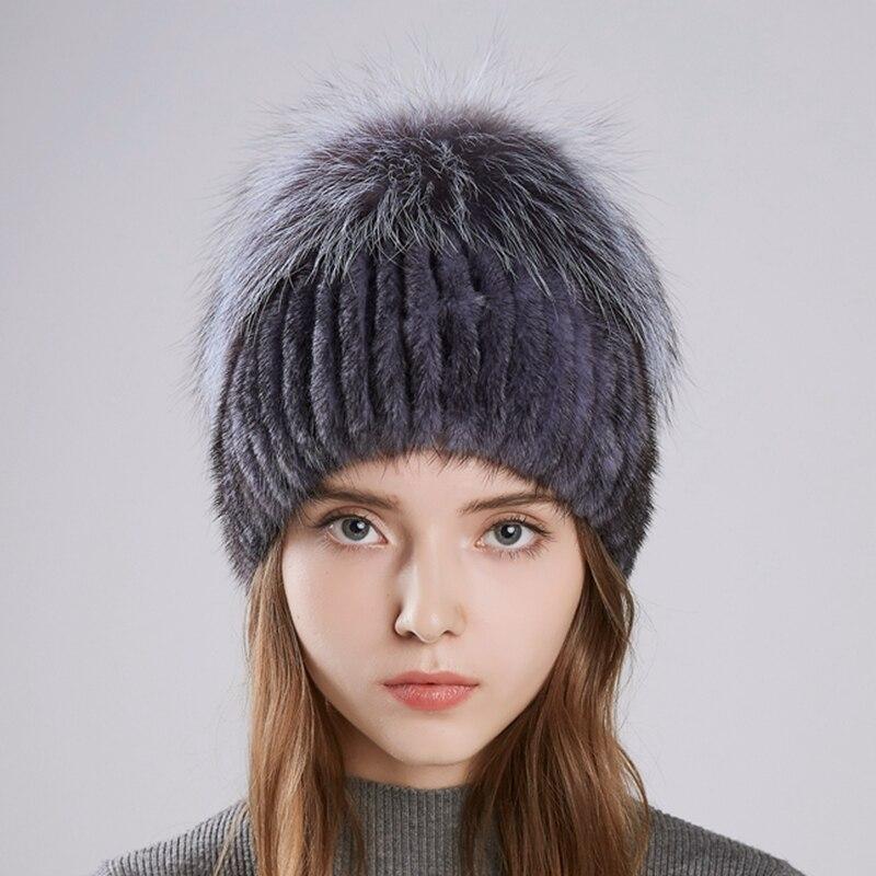 2018 LTGFUR Nouvelles Femmes de Chapeau Tricoté Réel Vison Chapeaux pour les Filles Réel De Fourrure chapeaux D'hiver Bonnets chauds fourrure de Renard casquette