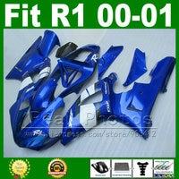 Фото реального изделия, Обтекатели для Yamaha YZF R1 2000 2001 комплект синих обтекателей YZFR1 00 01 1000 YZF R1 кузова комплекты пластиковые части T9I3