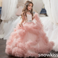 New 2017 Pink Flower Girl Dress With Backless Lace Beaded Belt Arabic Girl Evening Gowns First