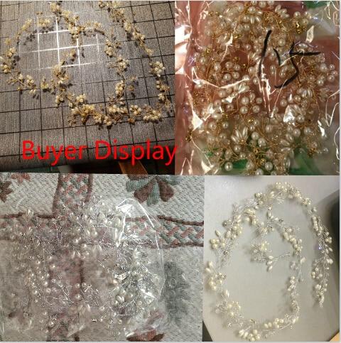 Luxury Silver Gold Pearl Crystal Bridal Headbands Crown Headpiece Hair Accessories Wedding Bride Tiara Forehead Ornament Jewelry