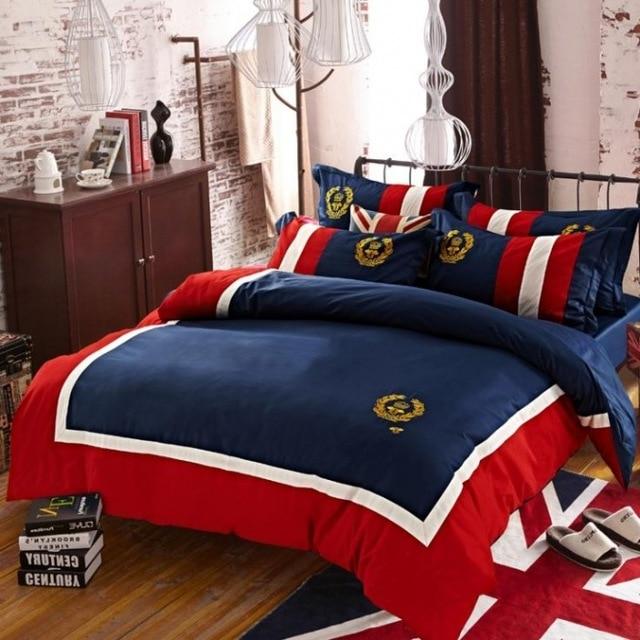 Us 1089 Gestickte Englisch Abzeichen Bettwäsche Set Marke 4 Stücke Bettbezugbettlakenpillowcasbettwäsche Vollköniginkönig Bett Gesetzt In