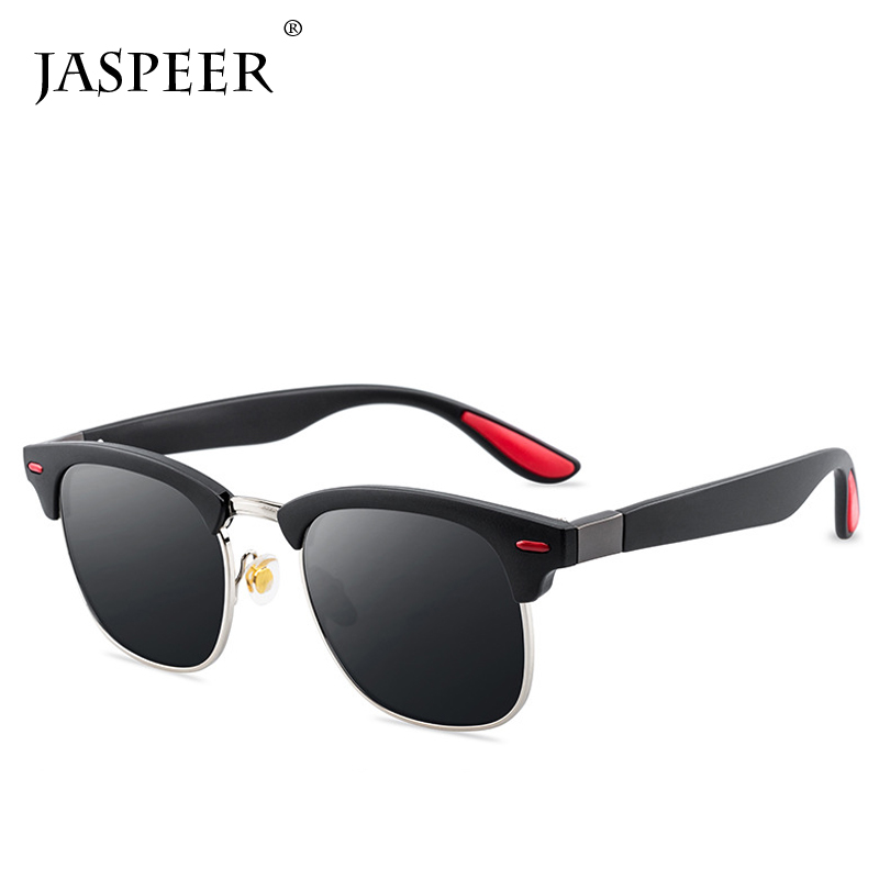 JASPEER Polarized Sunglasses Men Women Driving Square Frame Sun Glasses Male Goggle UV400 Eyeglasses Gafas De Sol