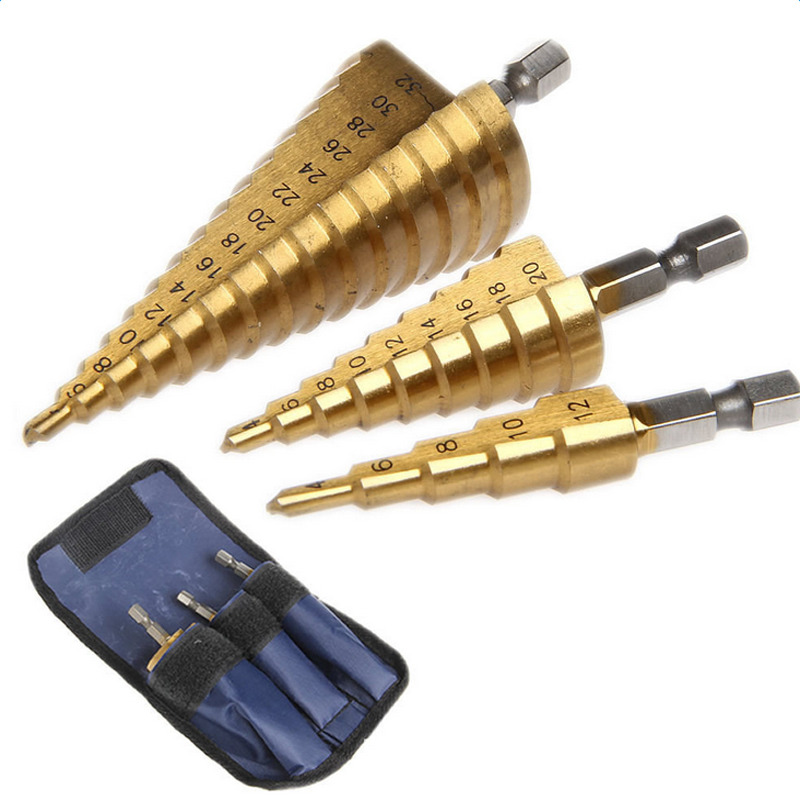 "3pc Hss step drill set set cone hole cutter Taper metric 4 - 12/20 / 32mm 1/4 ""titanium coating metal hex core drill bits"