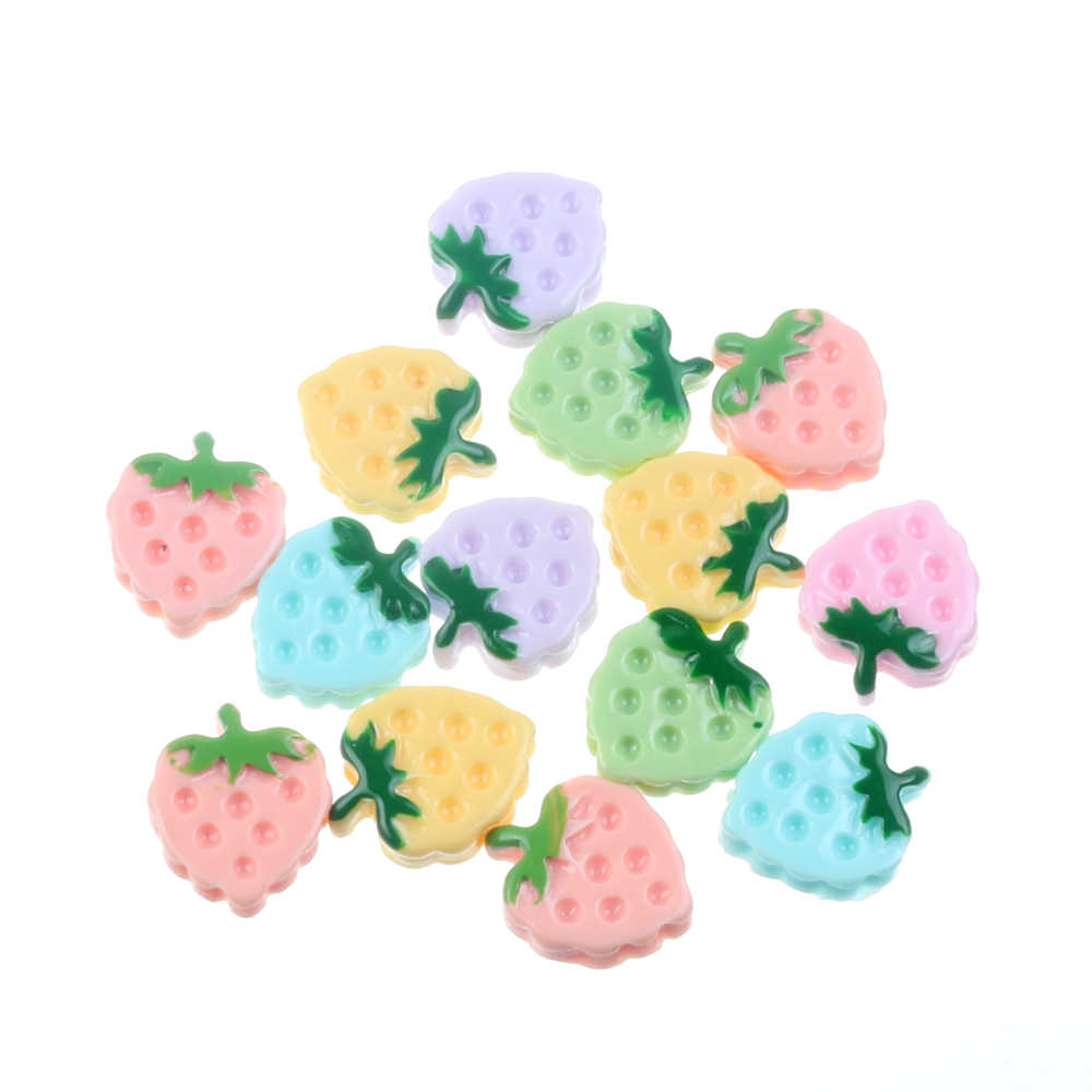 30Pcs Mixed Resin Strawberry Decoration Crafts Flatback Cabochon Embellishments For Scrapbooking Kawaii Accessories