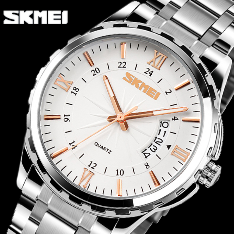 SKMEI Men Fashion Casual Quartz Watch Complete Calendar Relogio Masculino Stainless Steel Watches 30m Waterproof Wristwatches 2017 new top fashion time limited relogio masculino mans watches sale sport watch blacl waterproof case quartz man wristwatches