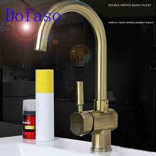 Dofaso brass antique bathroom faucet deck mount also use in kitchen mixer hot and cold water taps