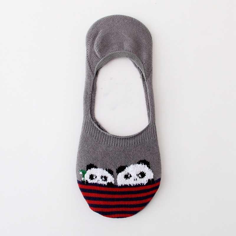 [WPLOIKJD]Fashion Lovely Ankel Cotton Antiskid Meias Sokken Socks Lovely Cartoon Candy Color Striped Pandan Women Ship Socks