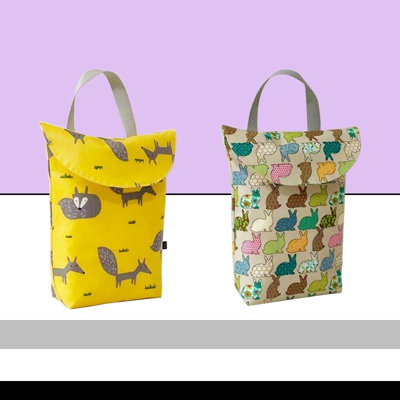 2pcs Multifunctional Baby Diaper Organizer Reusable Waterproof Prints Wet/Dry Bag Mummy Fashion Storage Bag Travel Nappy Bag