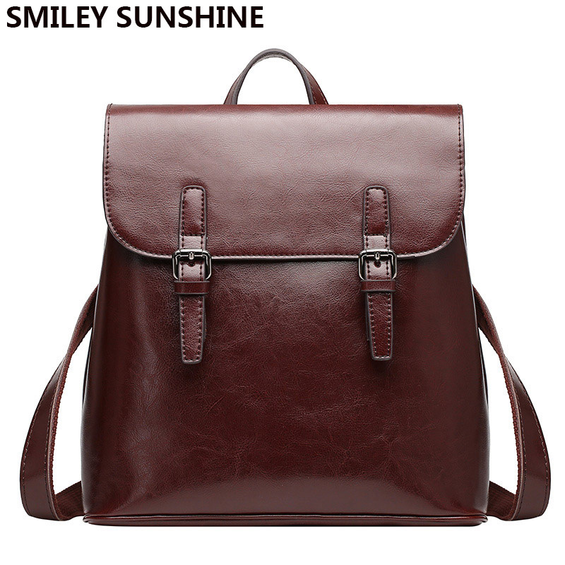 SMILEY SUNSHINE Classic genuine leather female backpack women big backpacks luxury fashion pack bag for women