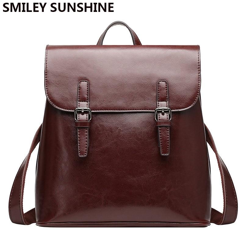 Smiley sunshine 클래식 정품 가죽 여성 배낭 여성 큰 배낭 럭셔리 패션 팩 가방 여성 2018 학교 가방-에서백팩부터 수화물 & 가방 의  그룹 1