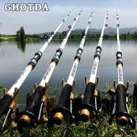 GHOTDA новый дизайн белая спиннинговая Удочка FRP + углеродное волокно телескопические удочки 2,1-3,6 м