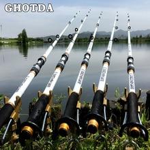 GHOTDA New Design White Spinning Fishing Rod FRP + Carbon Fiber Telescopic Fishing Rods 2.1-3.6M