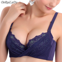 DeRuiLaDy Bralette 3/4 Push Up Bra Embroidery Deep V Breathable Lace