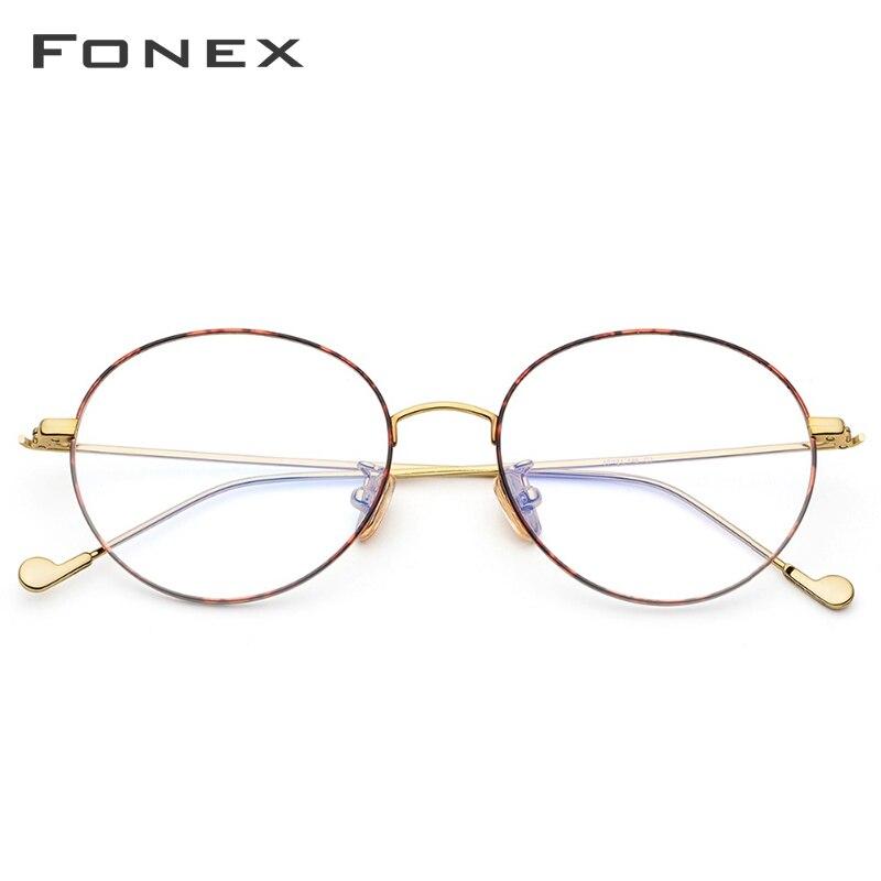 Titane pur lunettes cadre hommes rond Prescription lunettes lunettes Vintage rétro myopie optique lunettes femmes lunettes - 3