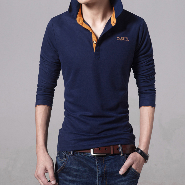 2017 Spring Brand Men Polo shirt Solid Color Long-Sleeve Slim Fit Shirt Men Cotton polo Shirts Casual Shirts black blue 3