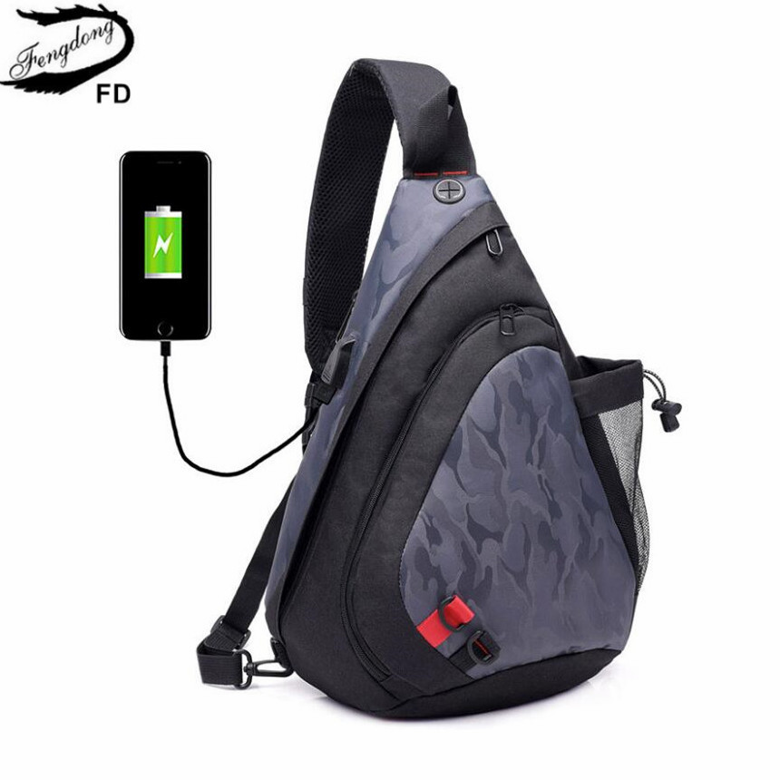 FengDong boy chest bag male casual waterproof shoulder bag pack men messenger bags small crossbody bags for women mini back pack