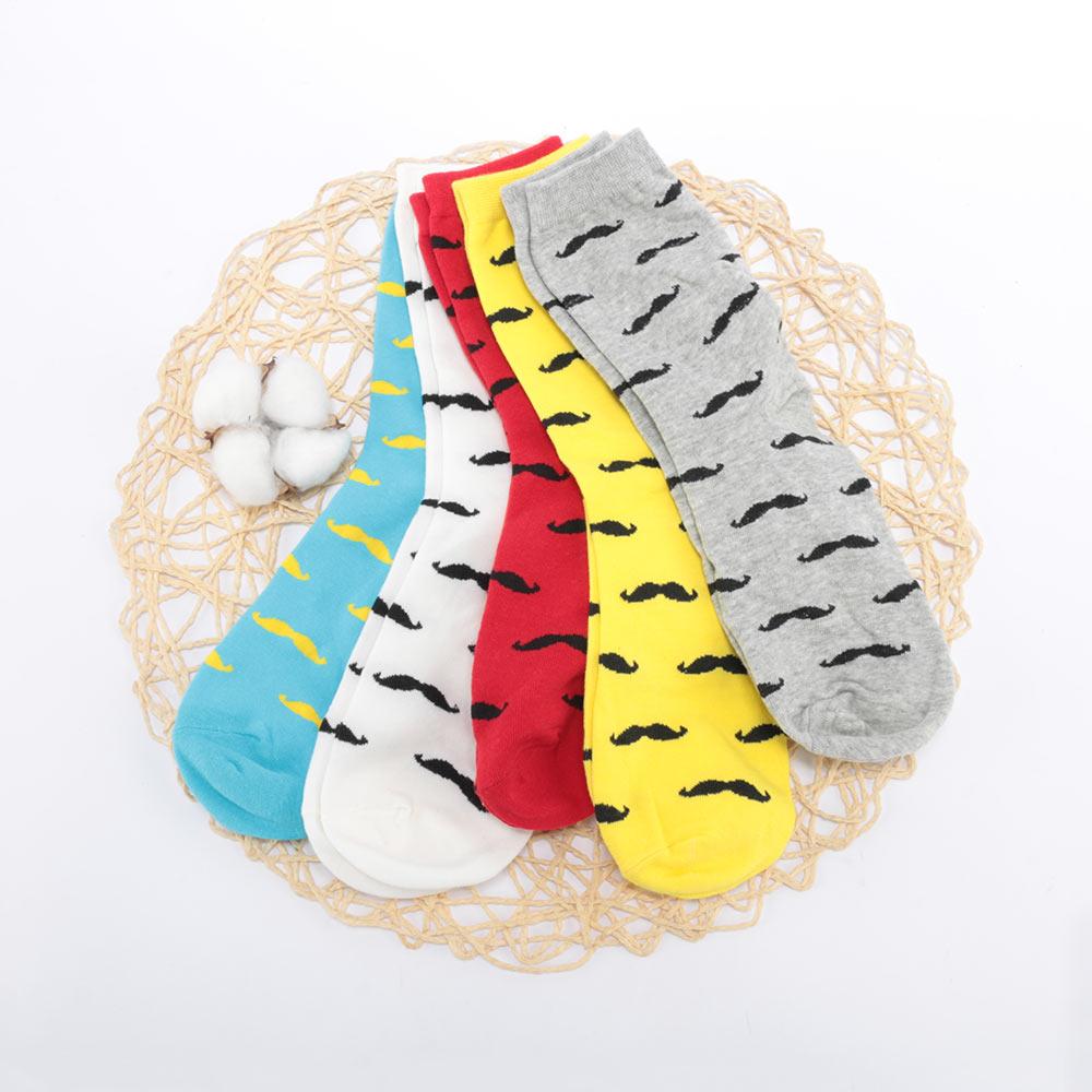 1 Pair Cartoon Mustache Design Men Cotton Casual Long Socks Autumn Winter Warm Lot Men's Cotton Funny Pattern Male Socks