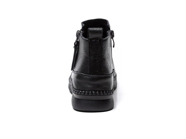 Cuir Noir À En Automne 100 Femmes Pour Doux De Véritable Chaussures Main Rétro Gktinoo Plates Bottes La 2018 Les Bottines Hiver RaaBq