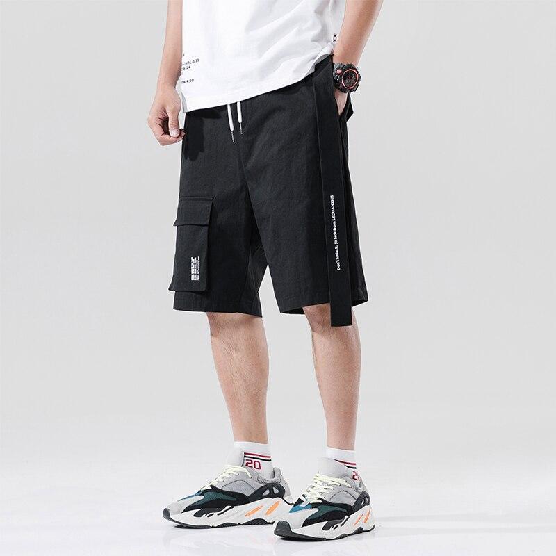 Streetwear Summer Casual Shorts Men Fashion Ribbons Pocket Cargo Shorts Bermuda Knee Length Men Short Pants
