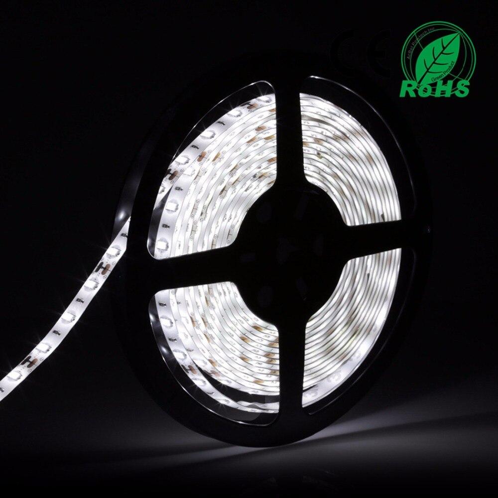 LED sloksnes gaisma 1Roll / 5M balta ūdensnecaurlaidīga līmlentes lentes spuldze 5630 DC12V 300D / rullīša gaismas spuldze 60 m / m