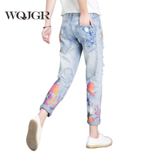 Купить с кэшбэком WQJGR Color Painting Jeans Woman Easy Nine Part Pants Korean Student Pants Ripped Jeans For Women