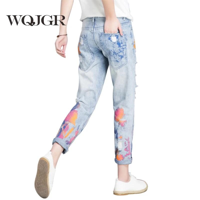 Wqjgr Color De Pintura De Mujer Jeans Vaqueros Mujer Facil Nueve Parte Pantalones Estudiante Coreano Pantalones Jeans Rasgados Para Damas Ripped Jeans For Women Jeans For Womenjeans Woman Aliexpress