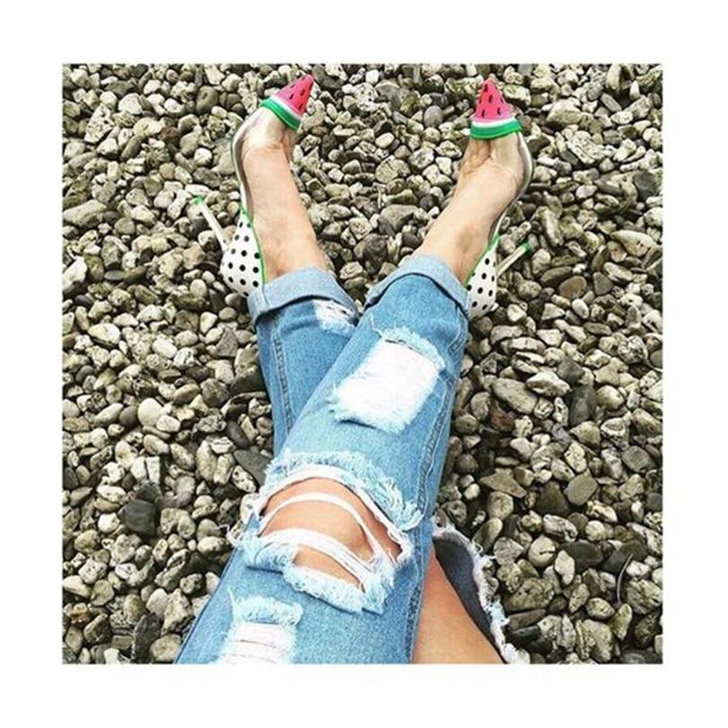 Pointu Star De Talons Party Mujer Slip on Mince Zapatos Fruits Profonde Chaussures Peu Femmes As Pic Mariage Mariée Pastèque Nouveau Défilé Pompes Bout wgaEX7