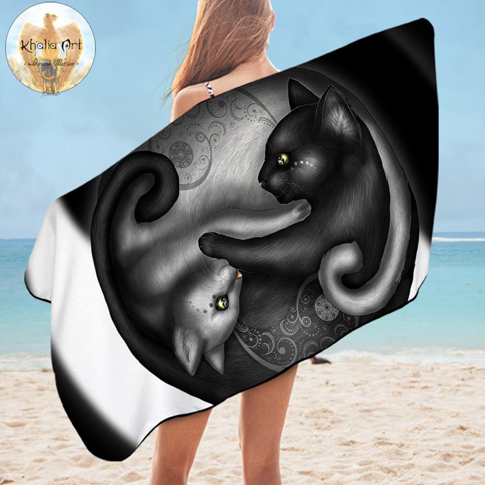 Yinyang chat matin par Khalia Art serviette de bain Paisley imprimé couverture de salle de bain noir et blanc microfibre serviette de plage serviette