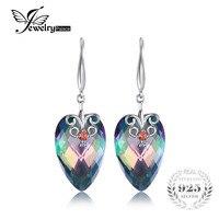 23ct Genuine Mystic Fire Rainbow Topaz Drop Earrings Dangle 925 Sterling Silver