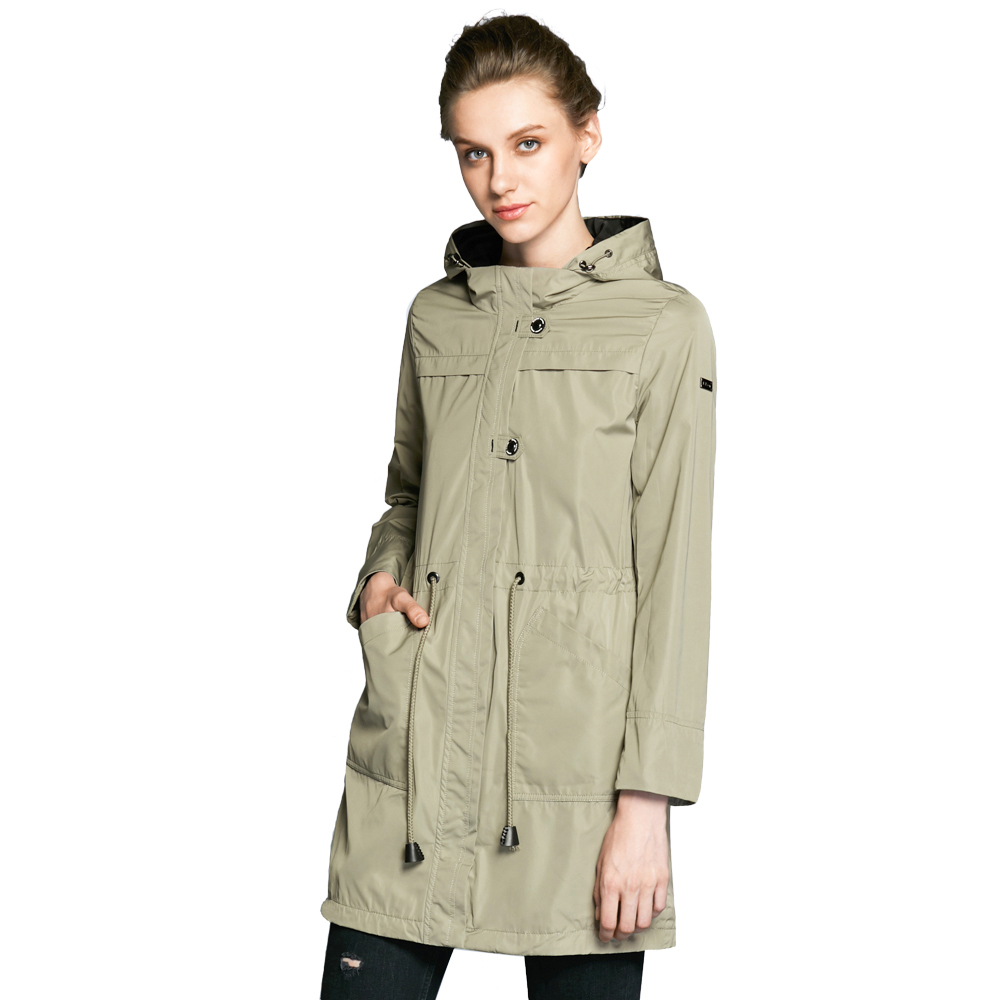 ICEbear 2019 O-Neck Collar Autumn New Arrival Brand Trench Coat for Women Solid Color Woman Fashion Slim Fashion Coats 17G123D vintage bead embellished round neck slim fit puff sleeve solid color knitwear for women