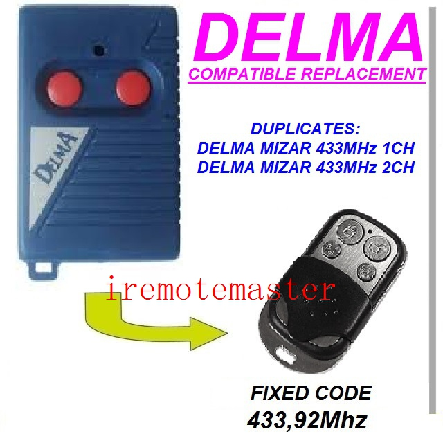Replacement remote for DELMA mizar 433mhz 1/2ch free shipping