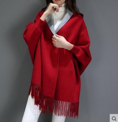 SC2 большой шарф Зимний вязаный пончо женский однотонный дизайнерский плащ женский длинный рукав летучая мышь пальто винтажная шаль - Цвет: Wine Red With Grey
