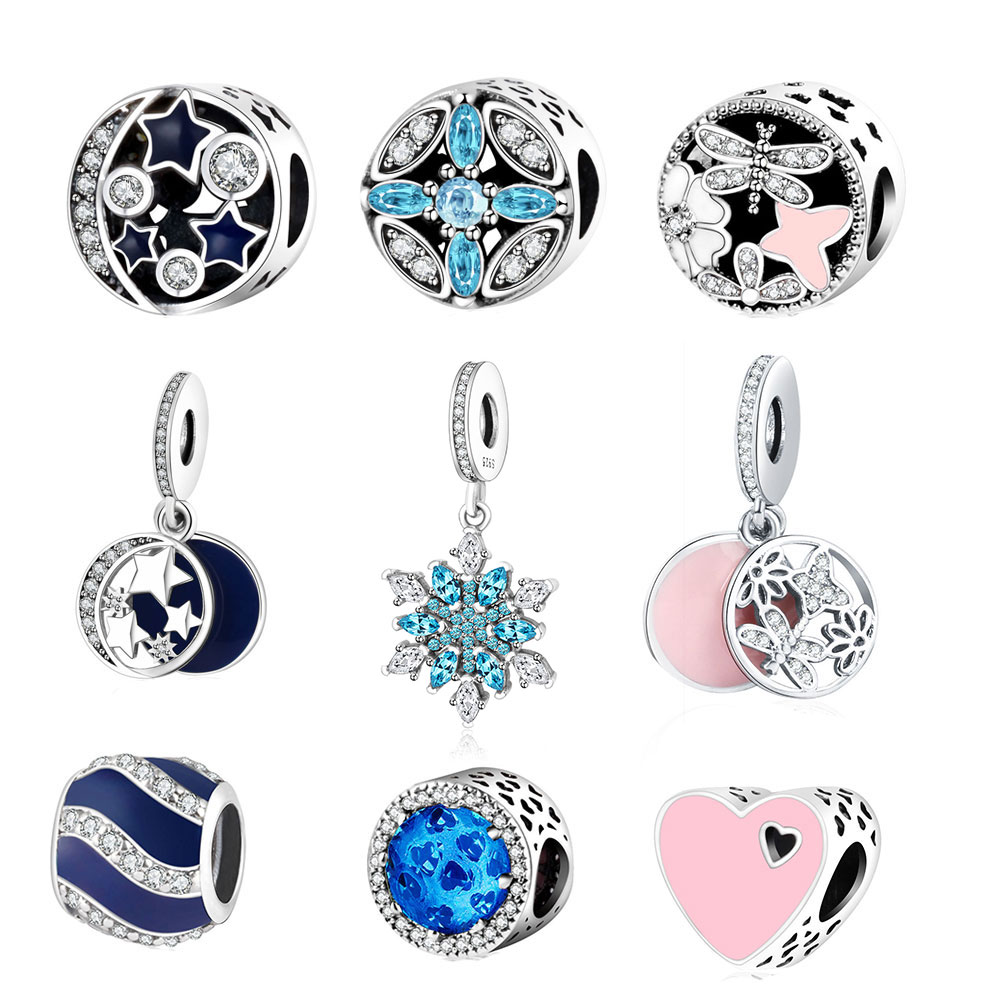 100% 925 Sterling Silver Beads Star & Moon Charm With Blue Sky Fits Original Pandora Charm Bracelets DIY Jewelry Women Wholesale