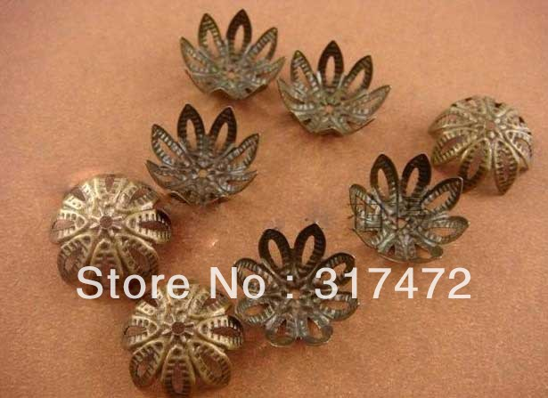 14mm Bronze Tone Lotus Flower Bead Caps Filigree DIY Jewelry Findings/Components